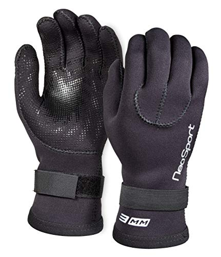 Neo-Sport mens 3MM & 5MM Premium Neoprene Five Finger Wetsuit Gloves with Gator Elastic Wrist Band....