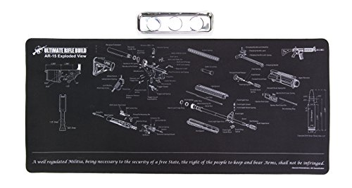 Ultimate Rifle Build X-Large Gun Cleaning Mat with Exploded Parts Diagram & Bonus Magnetic Parts Tray; Non-Slip & Solvent Resistant pad; Stitched Edges - 36x16