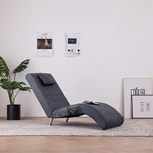 Festnight Massage Relaxliege mit Kissen | Wohnzimmer Liegesessel | Modern Relaxsessel | Liegestuhl | Sofaliege | Polsterliege | Grau Wildleder-Optik und Holzrahmen mit Stahlbeinen 144 x 59 x 79 cm