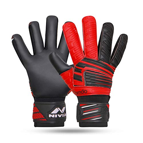 Nivia Raptor Torrido Football Gloves, (Black/Red, M)