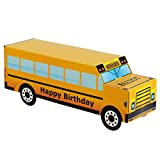 Personalized Treat Bags Gift Boxes for Kids | 12 Pack Party Favor Gift Boxes | Customized Happy Birthday Yellow School Bus Boxes | Fill with Your Chocolate Treats and Prizes