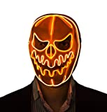 Halloween Masks Led Light Up Pumpkin Skull Mask (Orange)