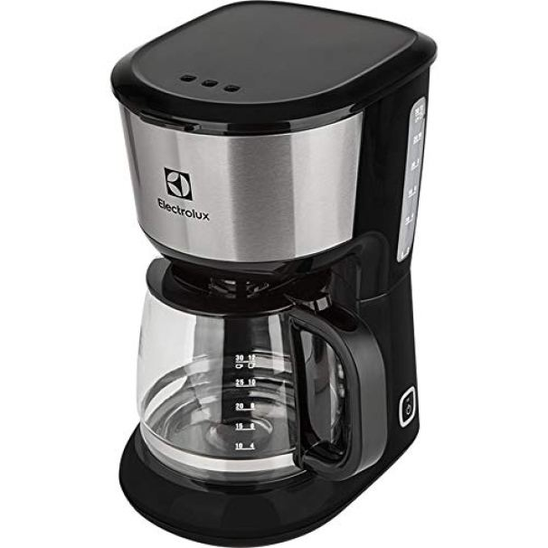 Love Your Day Stainless Steel Coffee Maker, 30 Cups, Electrolux, Black with Silver / Brushed Steel Details, 110V