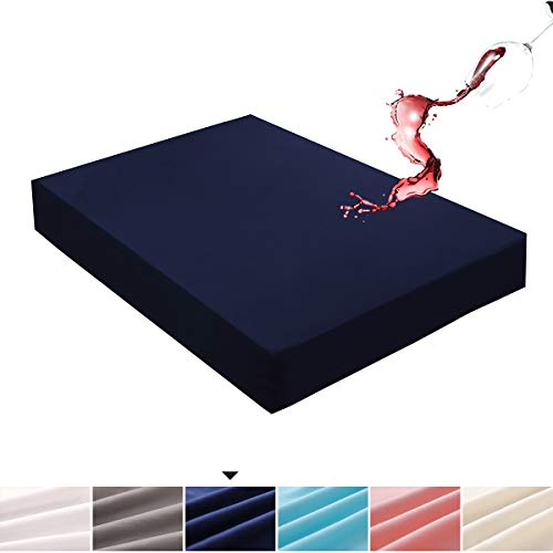 Mecerock Navy Twin Size Waterproof Mattress Pad Protector Cover Fitted to 18' Deep Hypoallergenic Vinyl Free