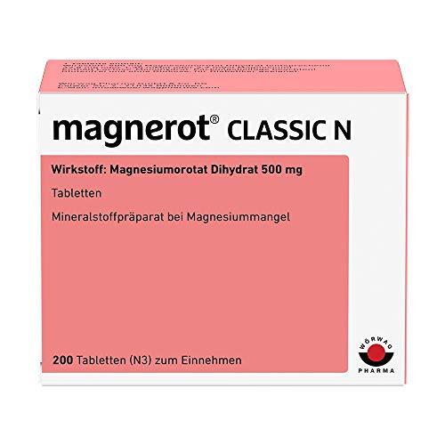 magnerot CLASSIC N Tabletten mit Magnesiumorotat: Bei Magnesiummangel, Individuell dosierbar, Für Schwangere und stillende Mütter geeignet, 200 Stück