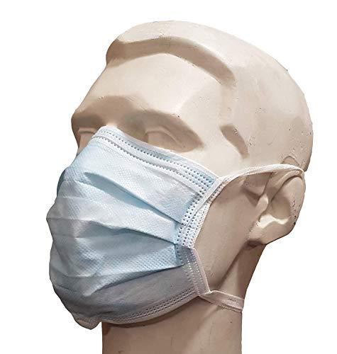 Maschere chirurgiche per il viso a 3 strati, taglia unica, 10 maschere in un sacchetto sigillante, colore: blu