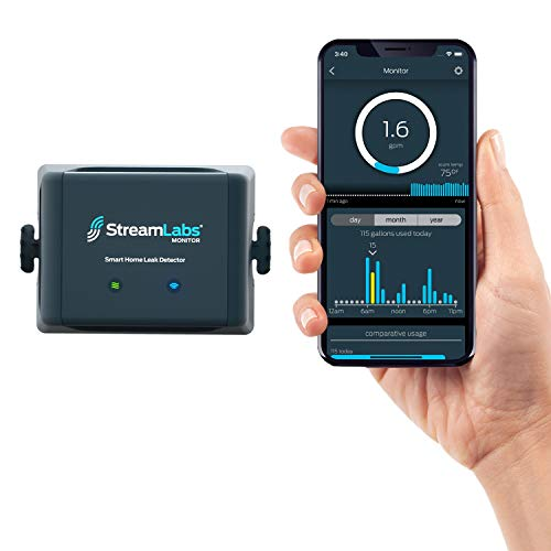 StreamLabs Smart Home Water Monitor Leak Detector with Wi-Fi  No Pipe Cutting, 5-Minute Install, Real-Time Phone Alerts  Fits 3/4' or 1' Pipes. Compatible with Alexa and Google Assistant