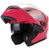 1Storm Motorcycle Modular Full Face Helmet Flip up Dual Visor Sun Shield: HB89 Glossy Pink