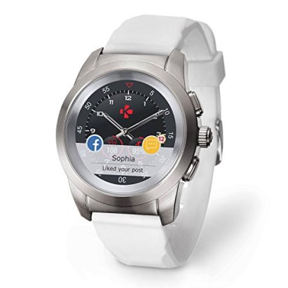 MyKronoz ZeTime Regular Original Hybrid Smartwatch 44mm with Mechanical Hands Over a Color Touch Screen – Brushed Silver/White Silicon Flat