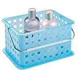 iDesign Plastic Storage Organizer Basket with Handle for Bathroom, Health, Cosmetics, Hair Supplies and Beauty Products, 5.3' x 8.8' x 6.9', Blue