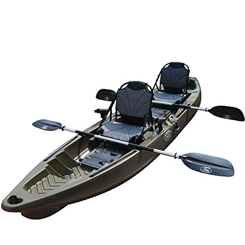 BKC TK122 Angler 12-Foot, 8 inch Tandem 2 or 3 Person Sit On Top Fishing Kayak w/Upright Aluminum Frame Seats and Paddles (Army Green)