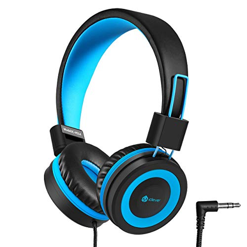 iClever Kids Headphones, Wired Headphones for Kids with 94 dB Volume Limited for Boys Girls, Adjustable Headband, Foldable, Child Headphones on Ear for Study Tablet Airplane School, Black