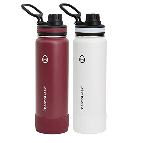 Thermoflask Leak Proof Wide Mouth Easy Carry Loop Spout Lid 24 OZ (2 Pack) (White- Burgundy)