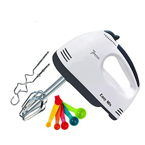 MJN Speed Electric Hand Mixer, Food Blender, Egg Beater, Cream Maker with Chrome Beater and Dough Hook Stainless Steel Attachments - Speed Setting - Beater for Cake Egg Bakery
