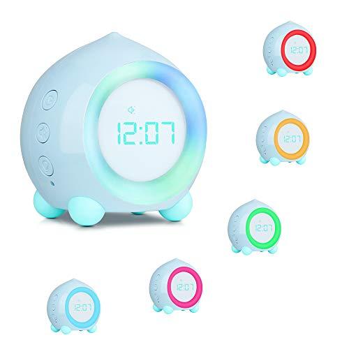 Kinder Nachtlicht Lichtwecker,Komake Wake Up Light Kreative Lampe Silent Night Light mit Schlummerfunktion,6 Laute Geräusche und 5 Lautstärken (Hellblau)