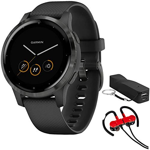 Garmin Vivoactive 4S Smartwatch, Bundle with Deco Gear Magnetic Wireless Sport Earbuds, Red with Carrying Case and Voltix 2600mAh Portable Power Bank