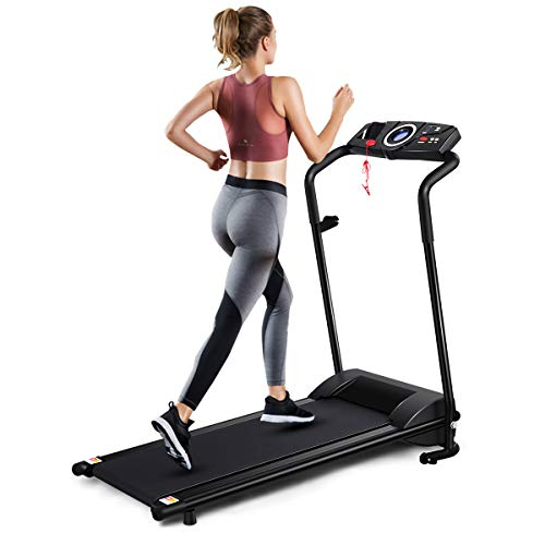 GYMAX Folding Treadmill, Electric Motorized Running Walking Machine with LCD Monitor & Cup Holder, Portable Easy Assembly Treadmill for Home Office Apartment 1