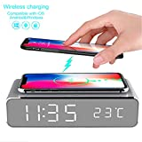 LED Alarm Clock Time Temperature Display Wireless Charger Charging Pad Dock, Qi-Certified for iPhone 11, 11 Pro Max, XR, Xs Max, XS, X, 8, 8 Plus, 10W Charging Galaxy S10 S9 S8, Note 10 Note 9