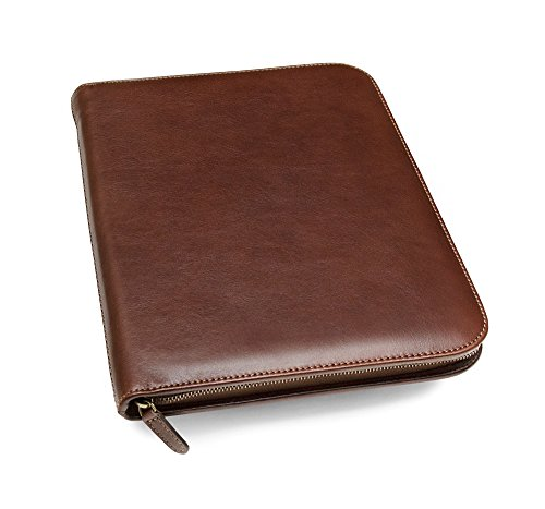 Maruse Italian Leather Executive Portfolio Padfolio, Folder Organizer with Zip Closure and Writing Pad, Handmade in Italy, Brown