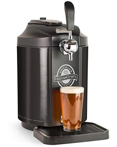 Homecraft Black Stainless Steel Easy-Dispensing Tap Mini Kegerator Cooling System, Includes Reusable Growler, CO2 Cartridges, Removable Drip Tray & Cleaning Kit, Beer Fresh For 30 Days, 5-liter