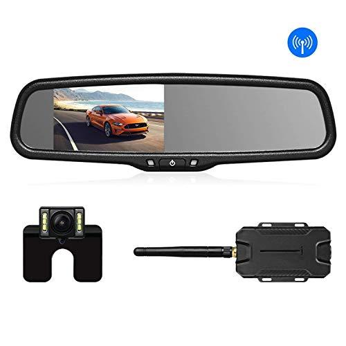 AUTO-VOX T1400W Retrocamera Auto Wireless Telecamera Retromarcia, Sensori Parcheggio, Specchietto Retrovisore Monitor con Telecamera Posteriore IP68, 6 LED, Visione Notturna Super