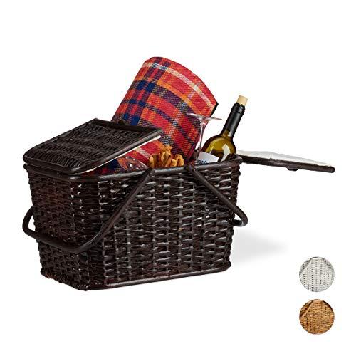 Relaxdays Picknickkorb mit Deckel, geflochten, Stoffbezug, Henkel, großer Tragekorb, handgefertigt, Rattan, Schokobraun