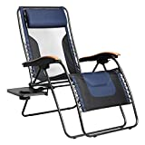 PORTAL Oversized Mesh Back Zero Gravity Reclining Patio Chairs, XL Padded Seat Folding Patio Lounge Chair with Adjustable Pillows and Cup Holder for Poolside Backyard/Lawn and Beach (Dark Blue)