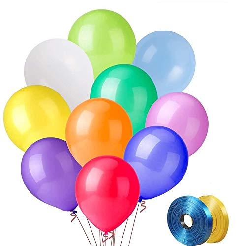 Party Balloons 100 PCS, Durable Birthday Balloons,12 Inch Latex Balloons for Birthday Party, Balloons Assorted Colors (10 Kinds Color X 10 PCS), Rainbow Balloons for Party Decoration