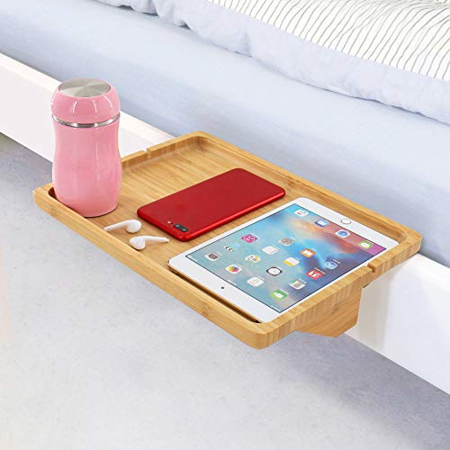 Bedside Tray Shelf,Bamboo Wooden College Dorm Room Bedside Tray with Phone Cable Slot,Bunk Bed Shelf for Top...