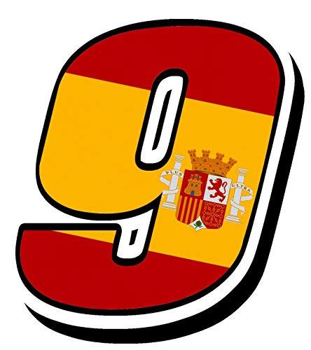 Biomar Labs® Número 9 Bandera Nacional España Spain Calavera Vinilo Adhesivo Pegatina Coche Auto Motocross Moto Sport Start Racing Tuning N 289