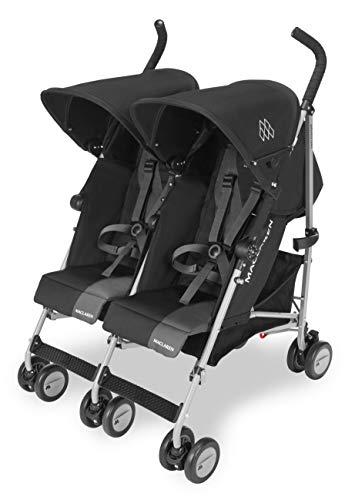Maclaren Passeggino Twin Triumph - Leggero, compatto, facile da manovrare, Passa attraverso le porte di misura standard, cappottine e sedili reclinabili in modo indipendente, Accessori inclusi