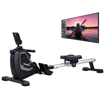 Skandika Rameur Venn -Console multifontion -Support tablette - 8 niveaux de résistance - max. 125 kg - Bluetooth - Compatible Kinomap
