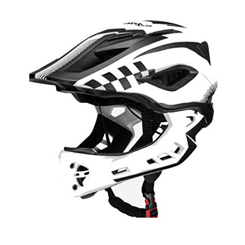 ROCKBROS Fahrrad Kinderhelm Integralhelm Downhill Helm S 48-53cm M 53-58cm für Kinder und Jugend mit Abnehmbare Kinnschutz Integriert EPS/PC Stoßfest Anti-Schweiß Schwarz Weiß M