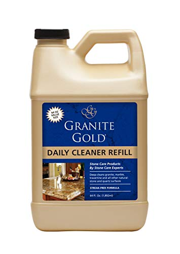 Granite Gold Daily Cleaner Refill Streak-Free Cleaning for Granite, Marble, Travertine, Quartz, Natural Stone Countertops, Floors-Made in the USA, 64 fl. oz
