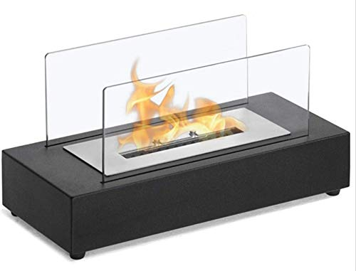 Mnjin Rectangle Tabletop Bio Ethanol Fireplace, Indoor Outdoor Fire Pit, Portable Fire Bowl Pot In Black, Realistic Burning