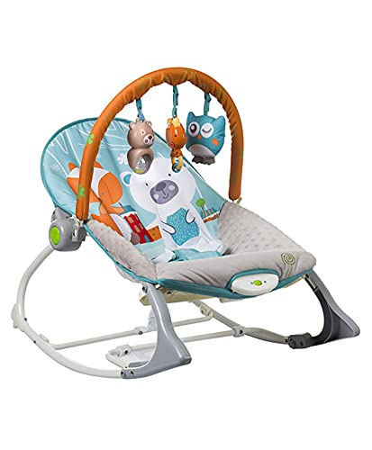 INFANTSO Baby Rocker & Bouncer (Blue), Portable with Calming Vibrations & Musical Toy (Blue)