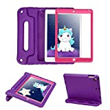 HDE Case for iPad Air - Kids Shockproof Bumper Hard Cover Handle Stand with Built in Screen Protector for Apple iPad Air 1 - 2013 Release 1st Generation (Purple Pink)