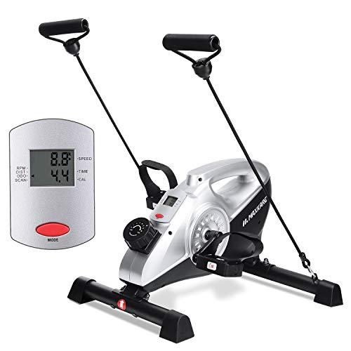 MaxKare Heimtrainer Fahrrad Schreibtischfahrrad Mini Bike Trainer Pedaltrainer Arm- und Beintrainer mit LCD-Monitor Magnetbremssystem für zuhause und Büro 16 Widerstand + Widerstandsbänder