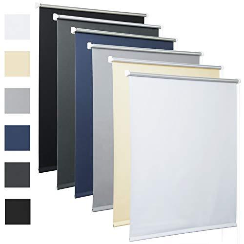 Laneetal Thermorollo mit Beschichtung Verdunklungsrollo in Blau 120x160 cm Klemmrollo für Fenster & Tür Klemmfix ohne Bohren Fensterrollo Seitenzugrollo