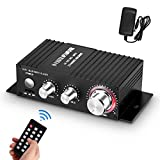 Mini Bluetooth Audio Amplifier Receiver Stereo Power Amp Remote USB Music Player with Power Supply