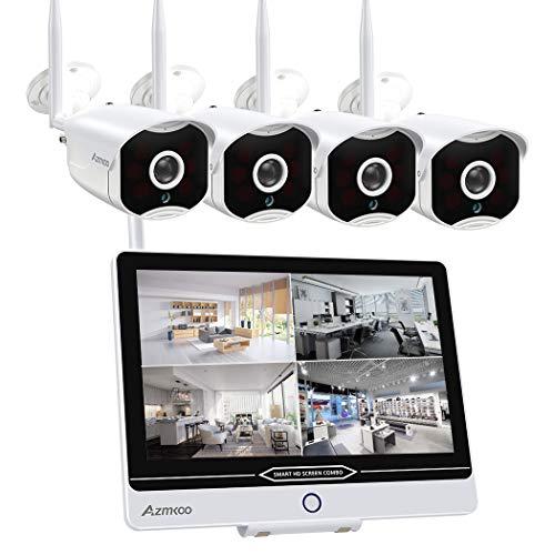 Kit Videosorveglianza con Monitor 8 CH 12 Pollici 5 MP Radio NVR e 4 x 1080P WLAN IP Camera Preinstallata per Interni ed Esterni