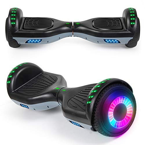 """SISIGAD Hoverboard with Bluetooth Speaker and Led Lights, Smart 6.5"""" Self-Balancing Electric..."""