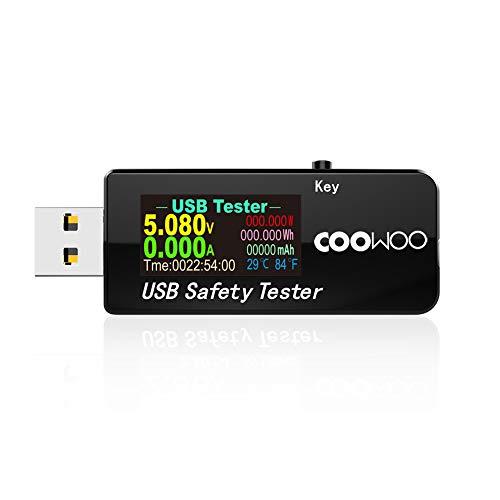 COOWOO USB電流電圧テスター チェッカー 3-30V/0-5.1A 急速充電QC2.0/QC3.0/MTK-PE/iphone2.4Aなど対応【日...