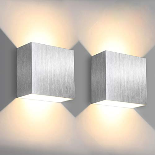 LED Wandleuchte, SOLMORE 6W Innenwandleuchte mit Up / Down-Effekt, 3000K Warmweiß 500LM Wandlampe, Aluminium für Innen Modern Design AC85-265V, 2 Stück