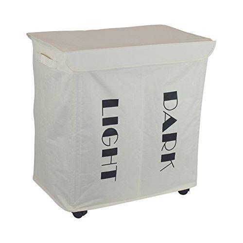 1PLUS faltbarer Wäschekorb Wäschesammler Wäschesortierer mit 2 Fächern, 105 L auf Rollen, 55 x 36 x 55 cm, creme
