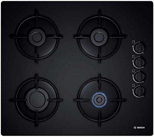 Bosch POP6B6B10 - Piastra a gas con 4 fuochi, tavolo in vetro nero, sicurezza con termocoppia, iniettore per gas butano/propano inclusi