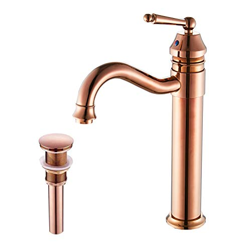 GGStudy Tall Body Single Handle One Hole Bathroom Vessel Sink Faucets Copper Finish with Pop Up Drian Without...