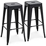 Best Choice Products 30in Set of 2 Modern Industrial Backless Metal Counter Height Bar Stools - Matte Black