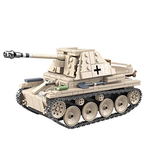 PEXL Technik Panzer Bausteine Bausatz, WW2 Deutsche MARDER III Militär Panzer Modell, 600 Klemmbausteine und 3 Minifiguren, Kompatibel mit Lego