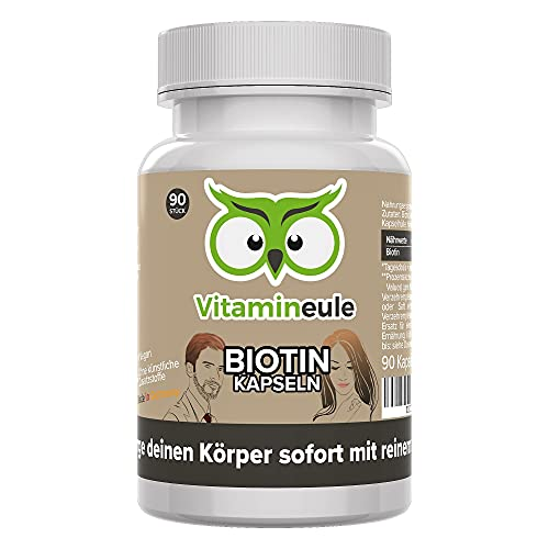 Biotin Kapseln 10000 mcg hochdosiert - Vitamin B7 - ohne künstliche Zusätze - kleine Kapseln statt große Tabletten - Deutsche Qualität - vegan - Biotin für Haut/Haare/Bartwuchs - Vitamineule®